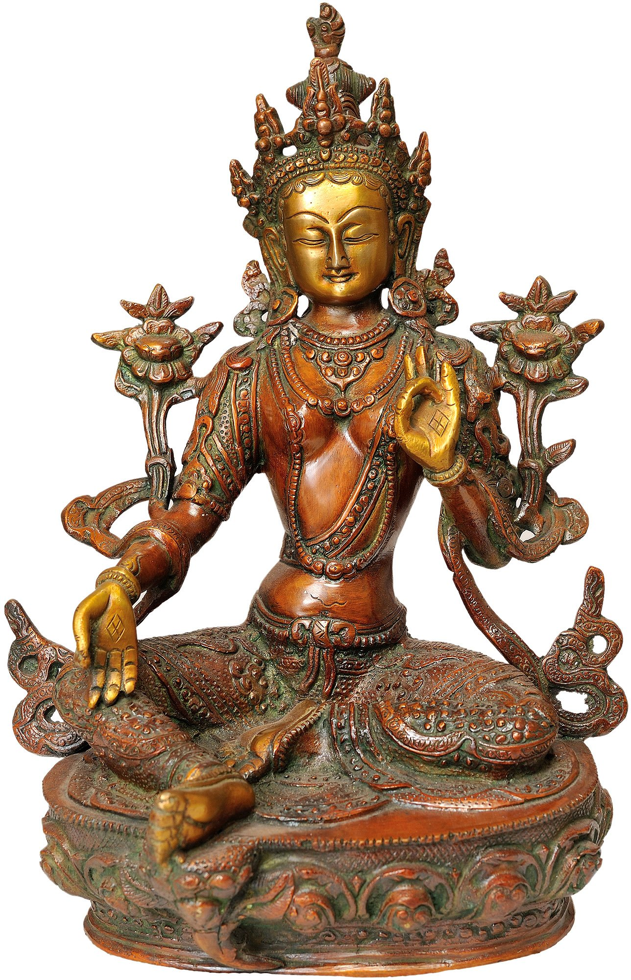 Green Tara - Brass Statue