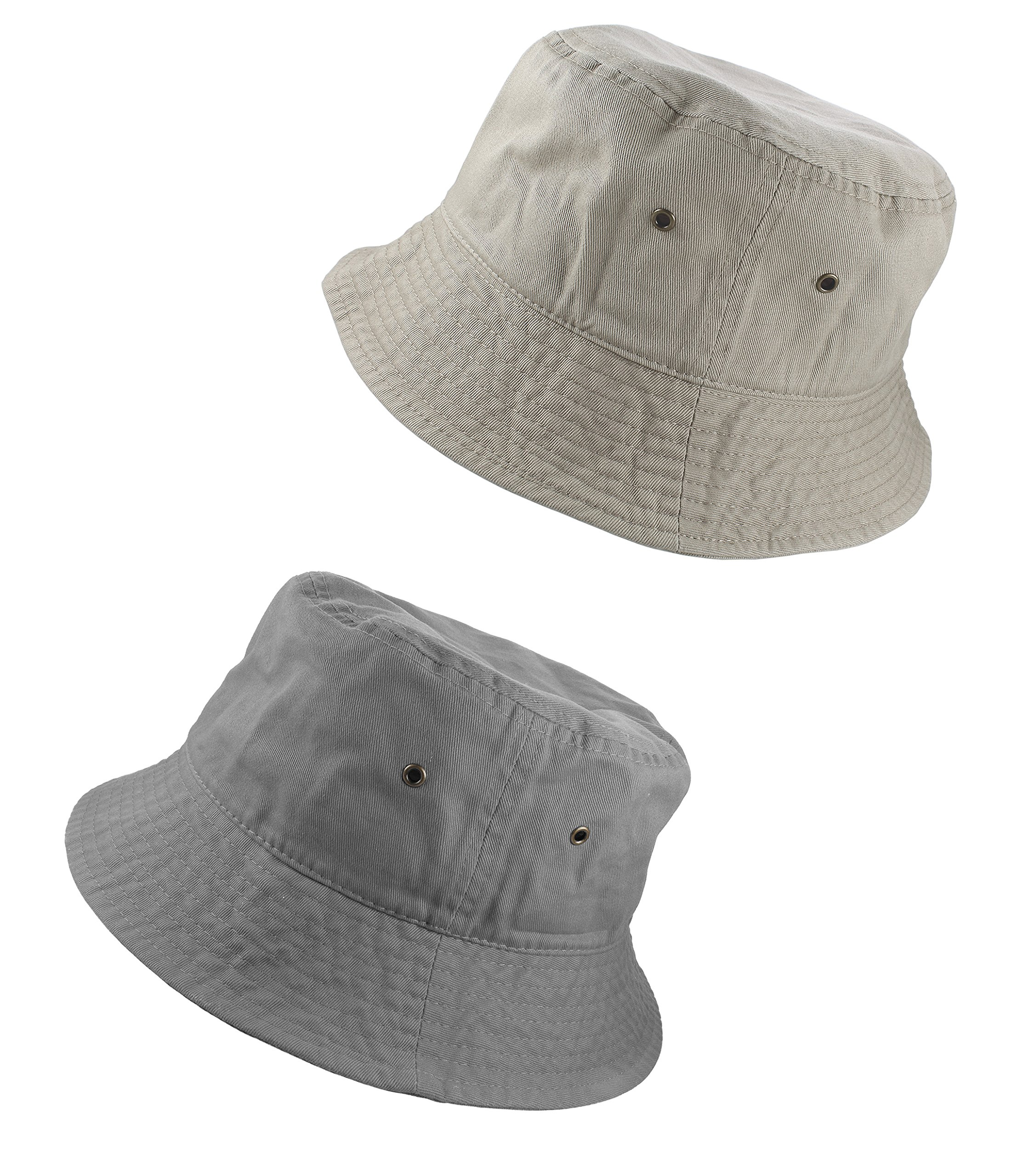 Gelante 100% Cotton Packable Fishing Hunting Sunmmer Travel Bucket Cap Hat 1900-Gray/Putty-L/XL