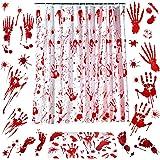 6 Pieces Halloween Bloody Handprint Footprint Decorations Set Include Bloody Shower Curtain Bloody Handprint Door Mat and Hal