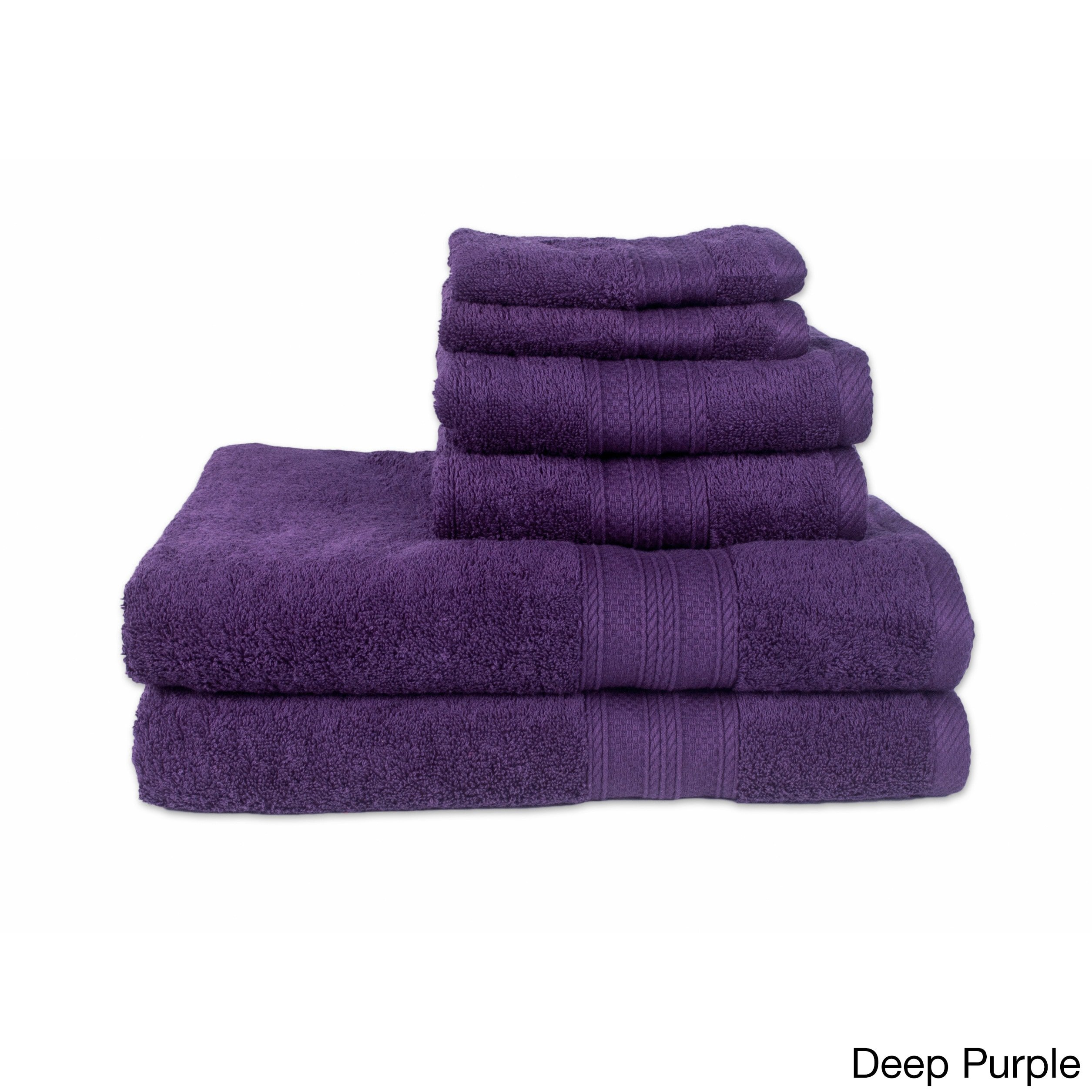 Regal Textiles Driftwood Classique 6-Piece Towel Set (2-Bath, 2-Hand, 2-Wash) Deep Purple