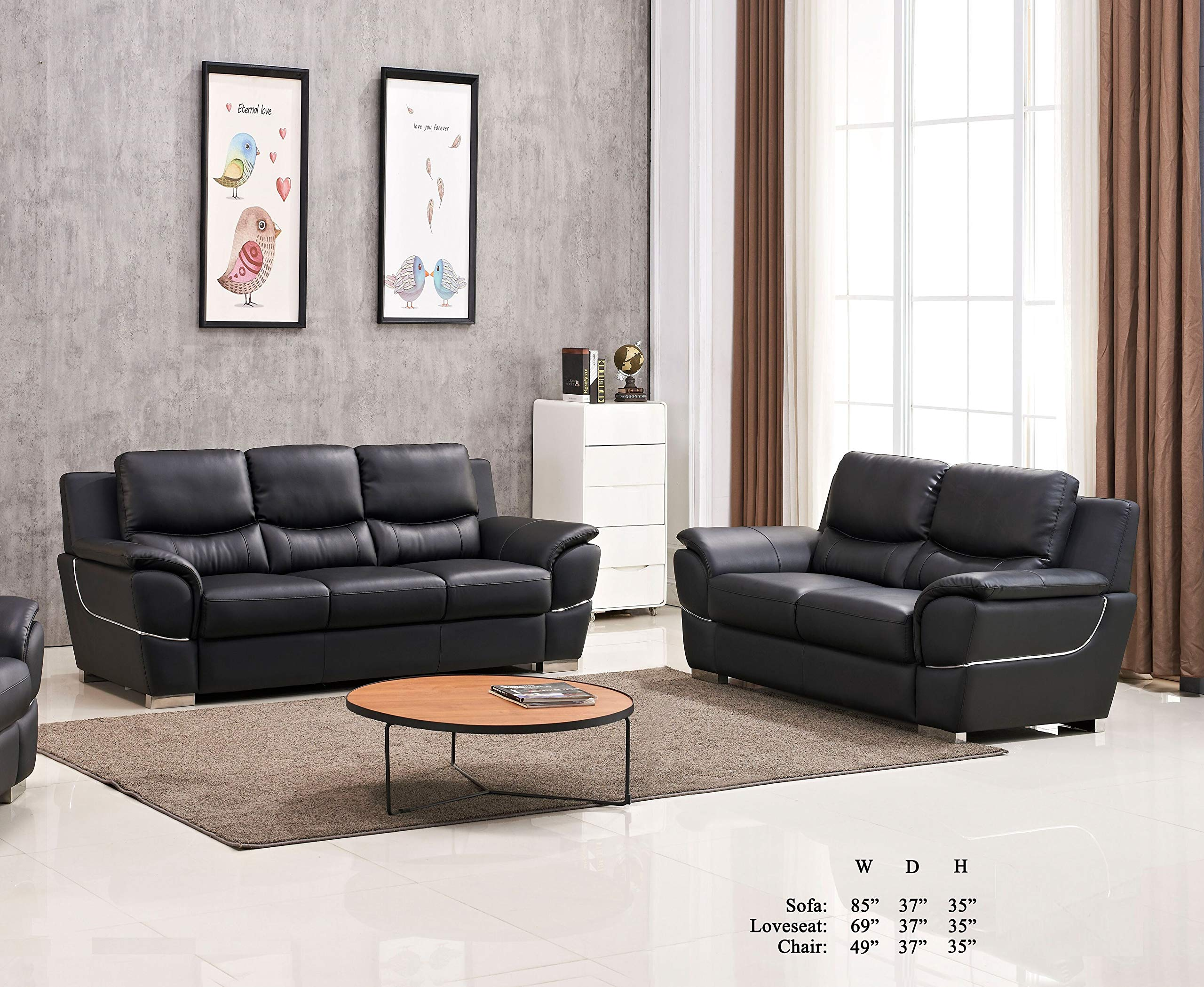 Esofastore Modern Attractive Comfort Classic Black Leather Air Sofa and Loveseat 2pc Sofa Set Living Room Furniture by Esofastore