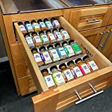 Natural Wood Kitchen Spice Drawer Organizer - Wooden Spice Rack Organizer for Cabinet - Large 4 Tiers Tray Insert for Kitchen