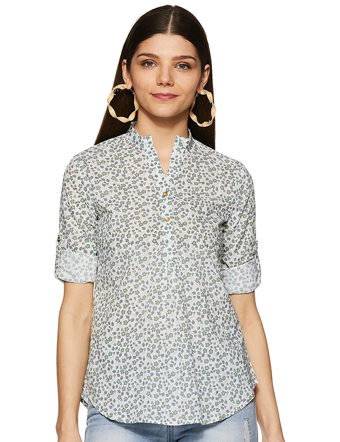 Styleville.in Women's semi Formal Multicolor Printed Shirt with roll Sleeve