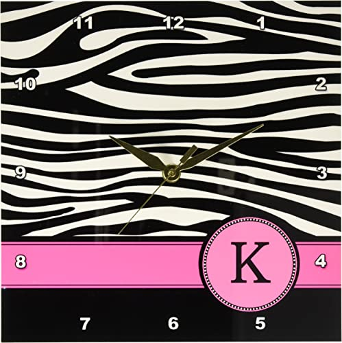 3dRose DPP_154282_1 Letter K Monogrammed Black and White Zebra Stripes Animal Print with Hot Pink Personalized Initial Wall Clock, 10 by 10-Inch