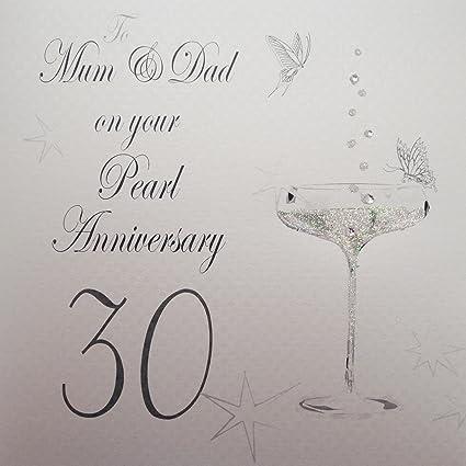 Auguri Anniversario Matrimonio Genitori : White cotton cards biglietto d auguri per ° anniversario di