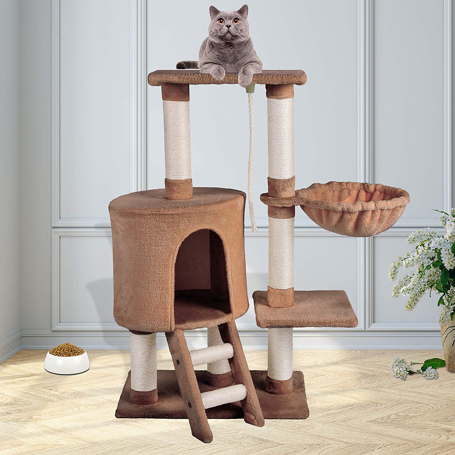 KExing Cat Tree Scratching Post Climbing Tree Sisal Plush with Hammock and Rope 96cm Brown