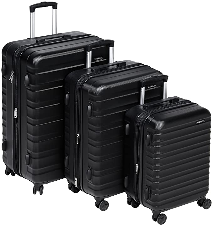"""AmazonBasics Hardside Spinner Luggage - 3 Piece Set (20"""", 24"""", 28""""), Black best luggage set"""