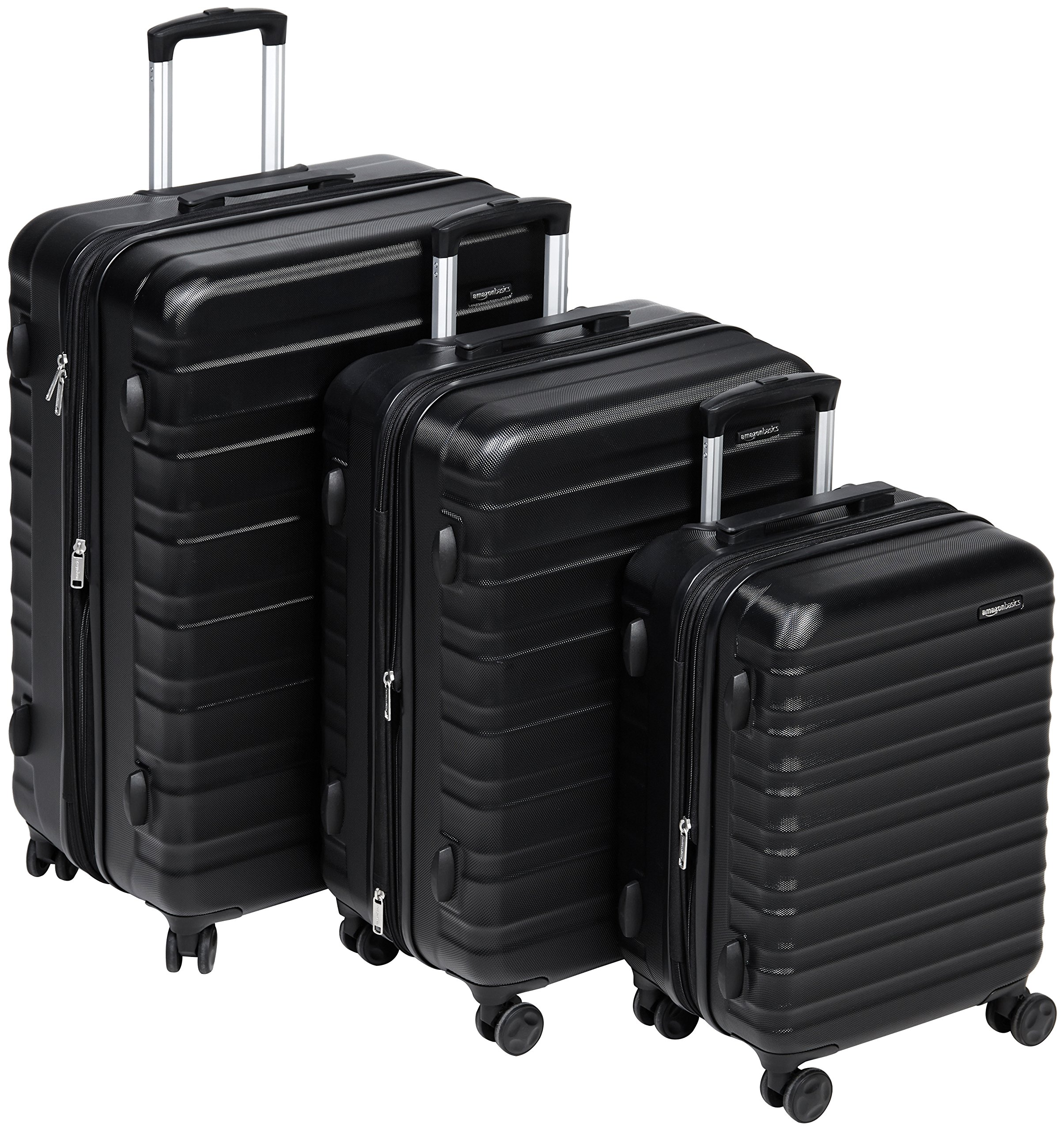 AmazonBasics Hardside Spinner Luggage - 3 Piece Set (20'', 24'', 28''), Black by AmazonBasics