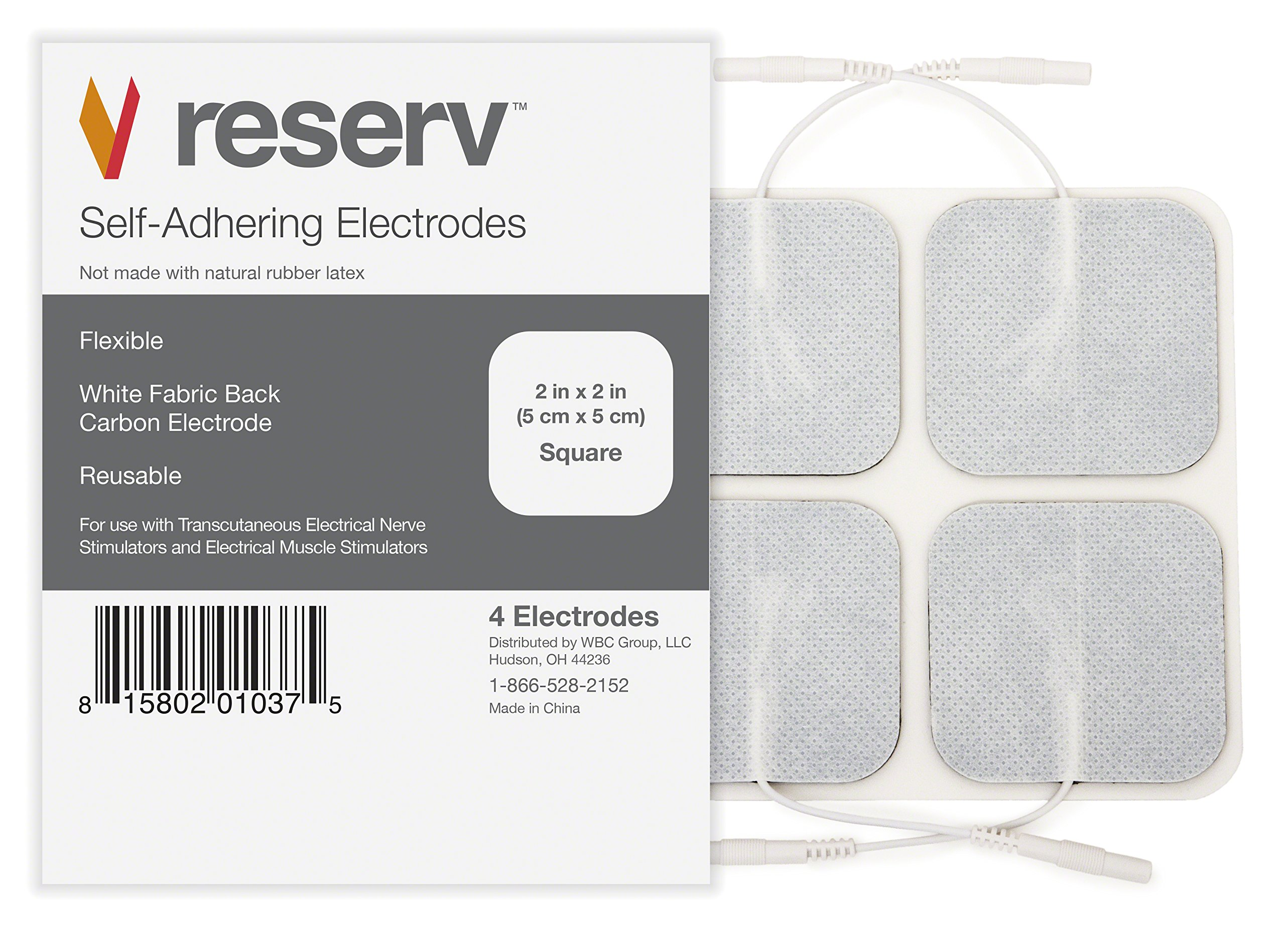reserv 20 Pack of 2'' x 2'' Premium Re-Usable Self Adhesive Electrode Pads for TENS/EMS Unit, Fabric Backed Pads with Premium Gel (White Cloth and Latex Free) (1/2 Pack (20 electrodes))