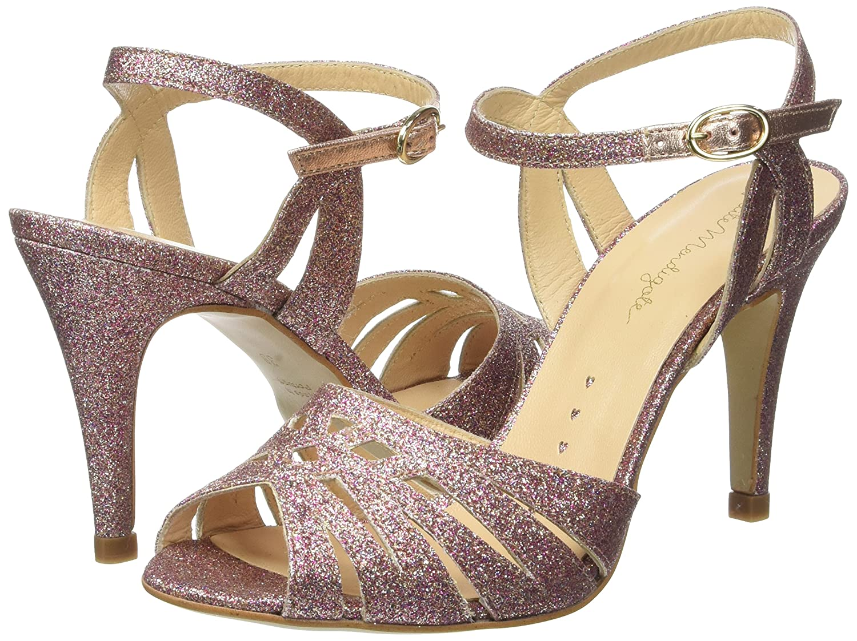 Womens Sandales Talons Moyen Hibiscus Glitter Open-Toe Heels Petite Mendigote zRdYtbdJh