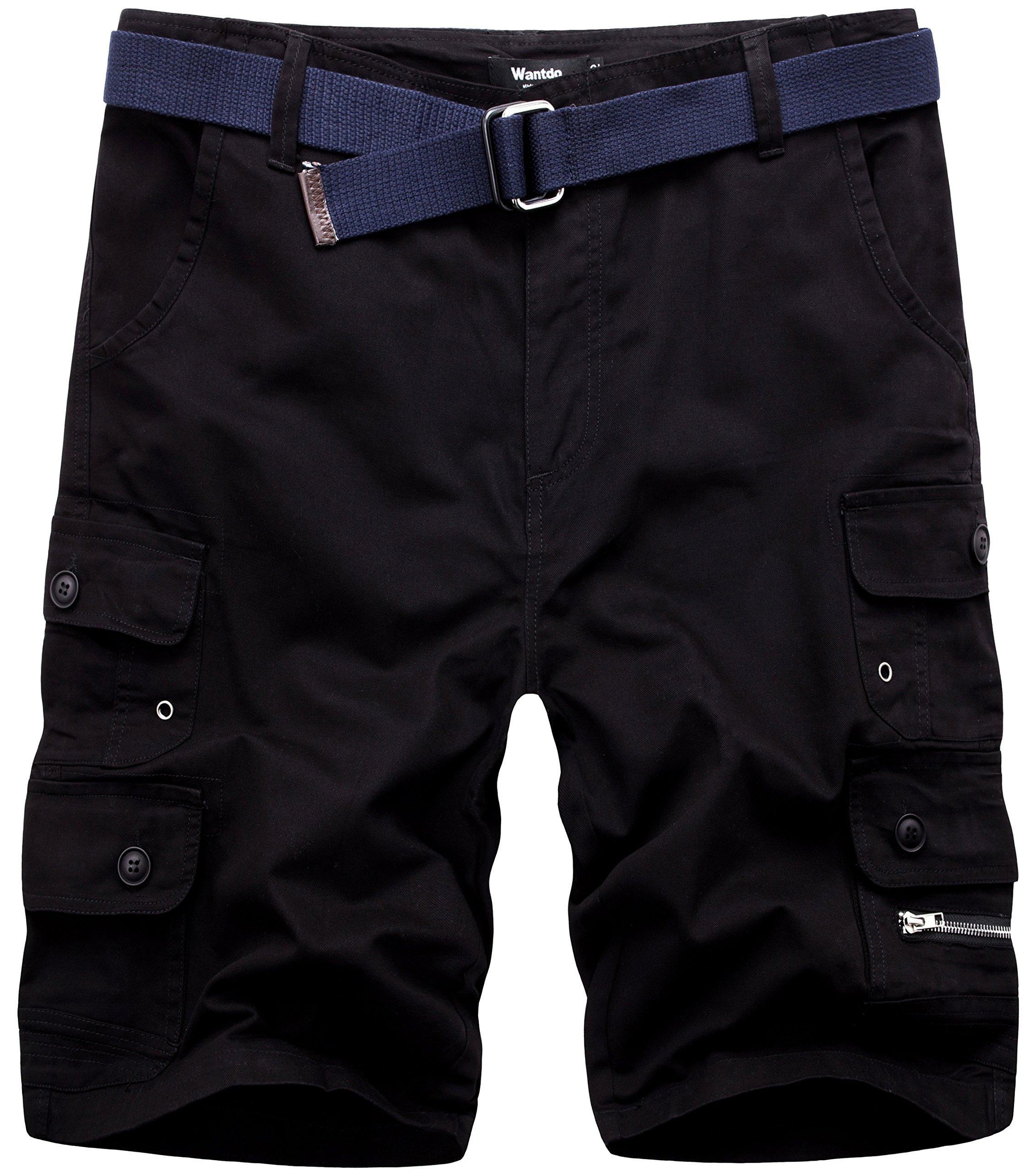 Wantdo Men's Belted Cotton Cargo Shorts 38 Black