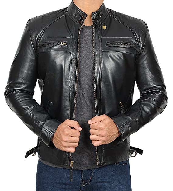 699868023 Mens Leather Jacket - Quilted Real Lambskin Leather Jackets for Men