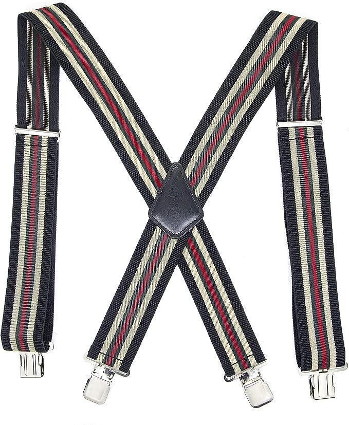Nouveau Homme Noir Bretelles élastiques cuir bretelles X-Retour Réglable Clip-on Gift
