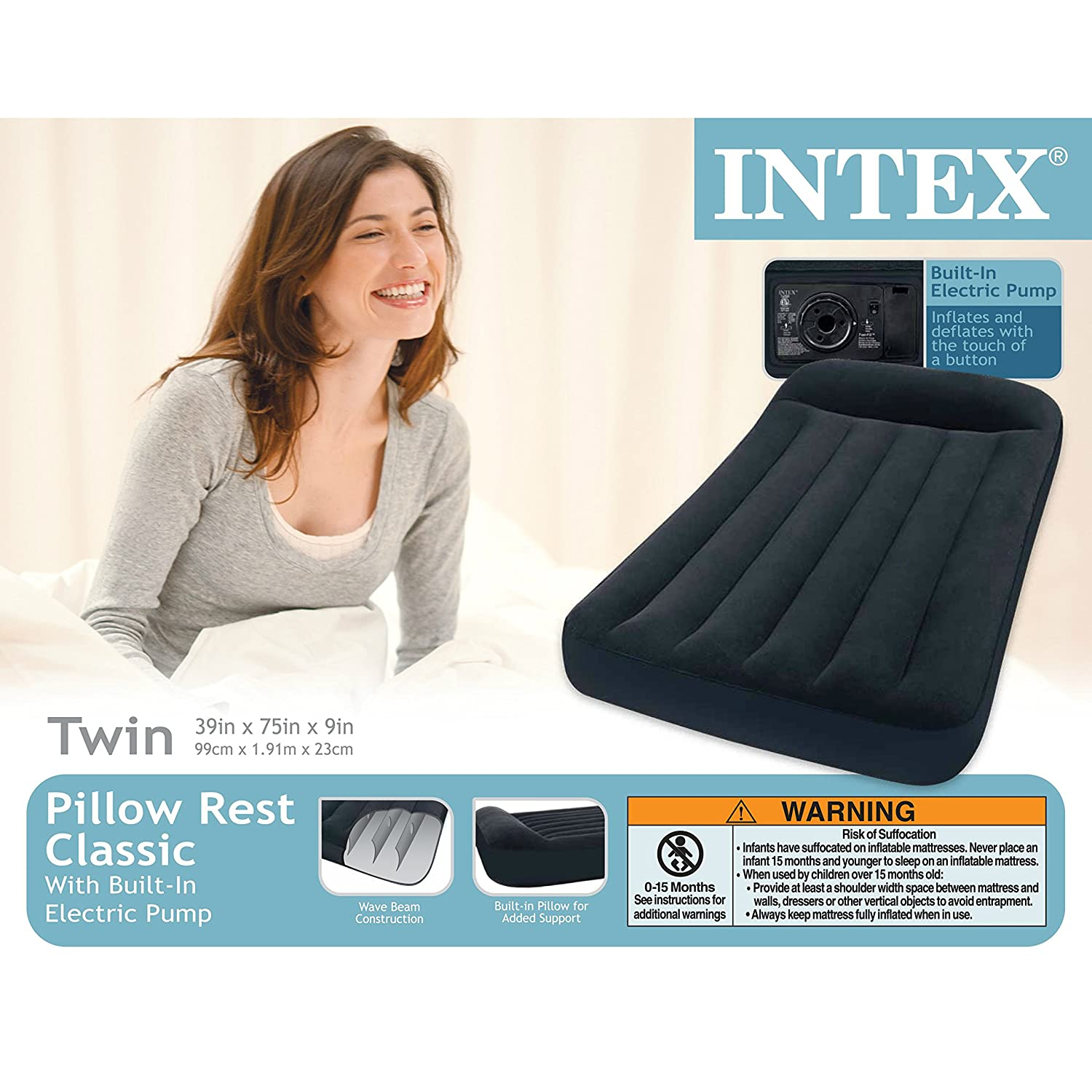 Intex Pillow Rest Classic Airbed with Built-in Pillow and Electric Pump Twin