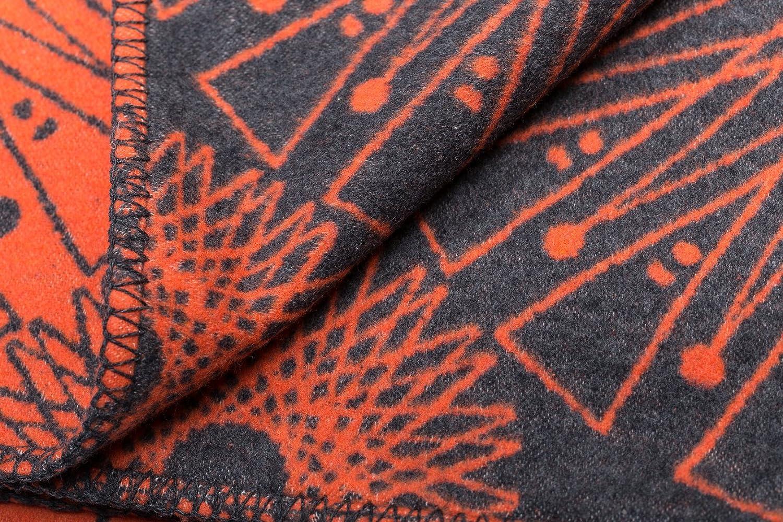 David David David Fussenegger Sylt Baumwolldecke Kreisformen afrikanisch, Baumwoll Mischgewebe, Dunkelorange anthrazit, 200 x 140 cm 73ef22