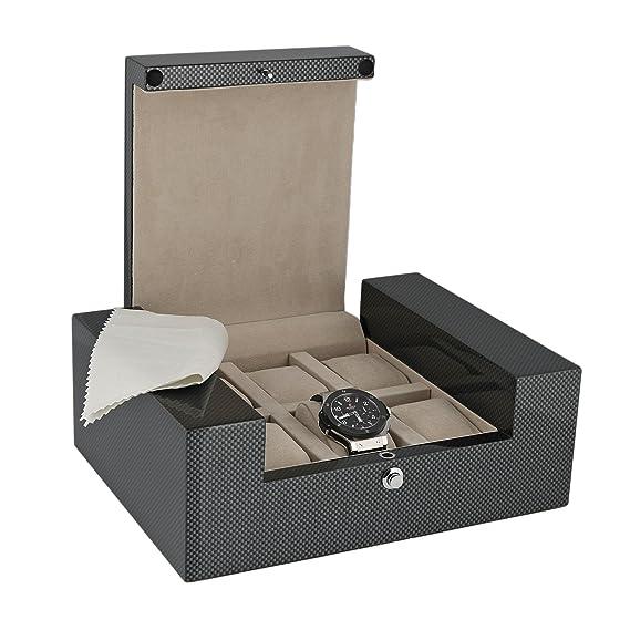 Caja de coleccionista reloj de gran calidad para relojes de fibra de carbono 6 con acabado brillante Fortis chapado en la colección Aevitas: Amazon.es: ...