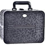Joligrace Makeup Train Case Professional Large Black Organizer Box Cosmetic Travel Storage Portable Lockable with 4 Trays and Mirror