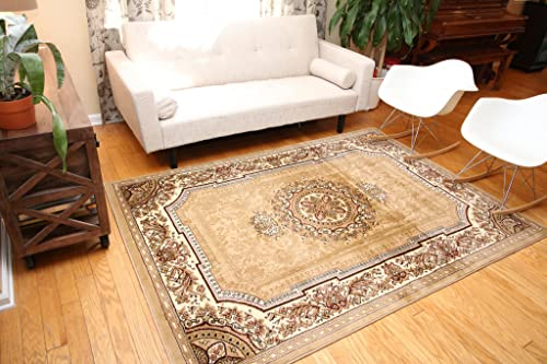 Feraghan New City Traditional French Floral Wool Persian Area Rug, 9 x 12, Beige