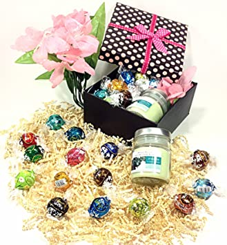 Polka Dot Mothers Day Gift Box Lindt Lindor Gourmet Chocolate Truffles Aromatherapy Candle