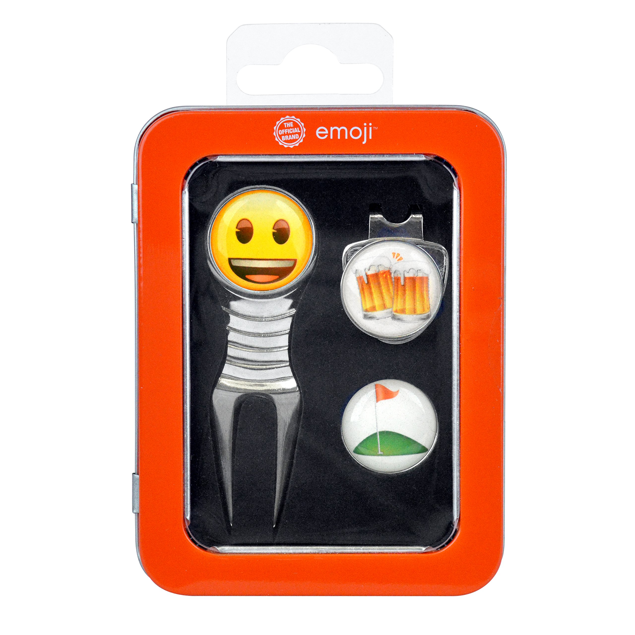 emoji I Like Beer and Golf Divot Tool, Hat Clip and Ball Marker Gift Case Set