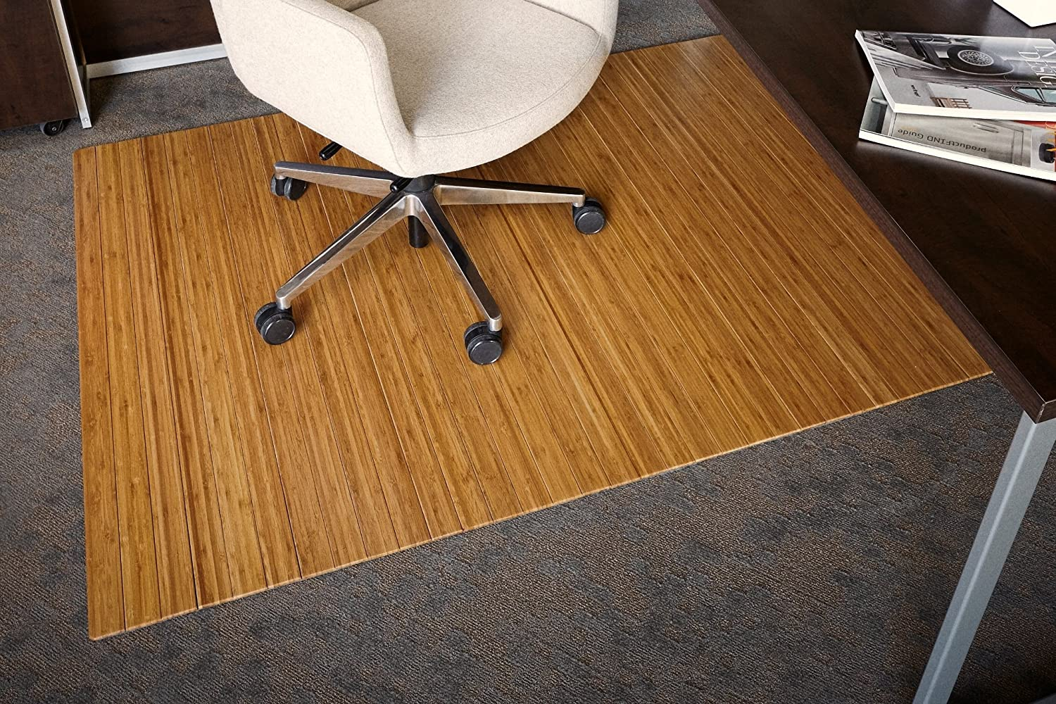 Anji Mountain Bamboo Roll-Up Chair Mat without Lip, Natural, 48 x 72 , 5mm Thick