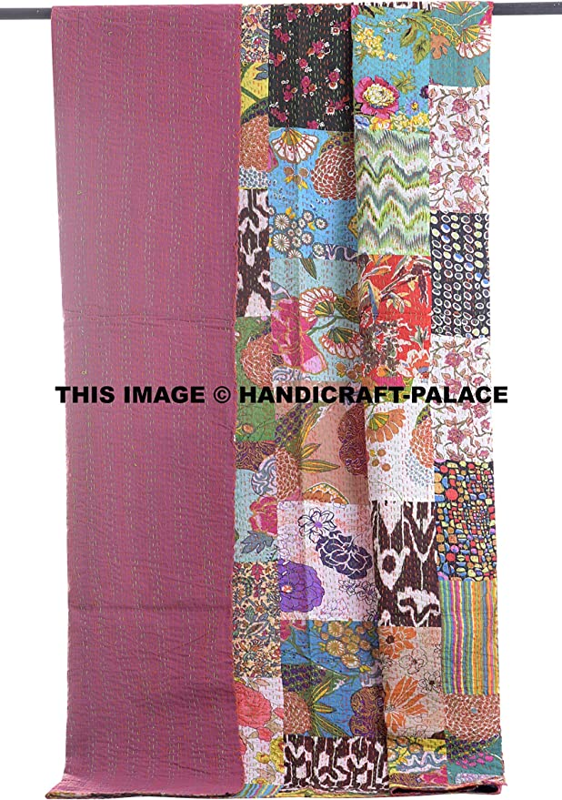 Vintage Bohemian Kantha Blanket Quilt Throw Bohemian 1 Pc Bed Cover Rally Gudari