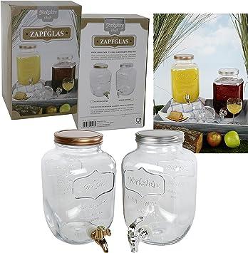 Getränkespender mit Zapfhahn aus Glas 4 Liter Wasserspender Saftspender Cocktail
