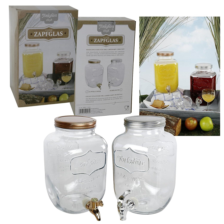 Saftspender 4 litros de vidrio con Zapfhahn Wasserspender Getränkespender Yorkshire con Kunststoffzapfhahn y tapas en bronce, o de plata - colores: ...