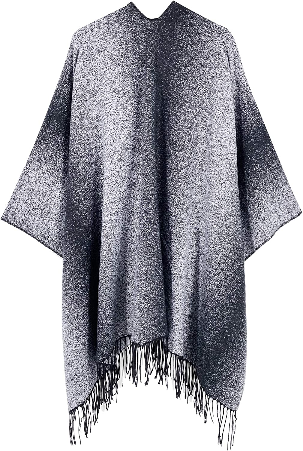 Spicy Sandia Ponchos for Women Thicken Faux Fur Oversize Cape Poncho Open-Front Blanket Wrap
