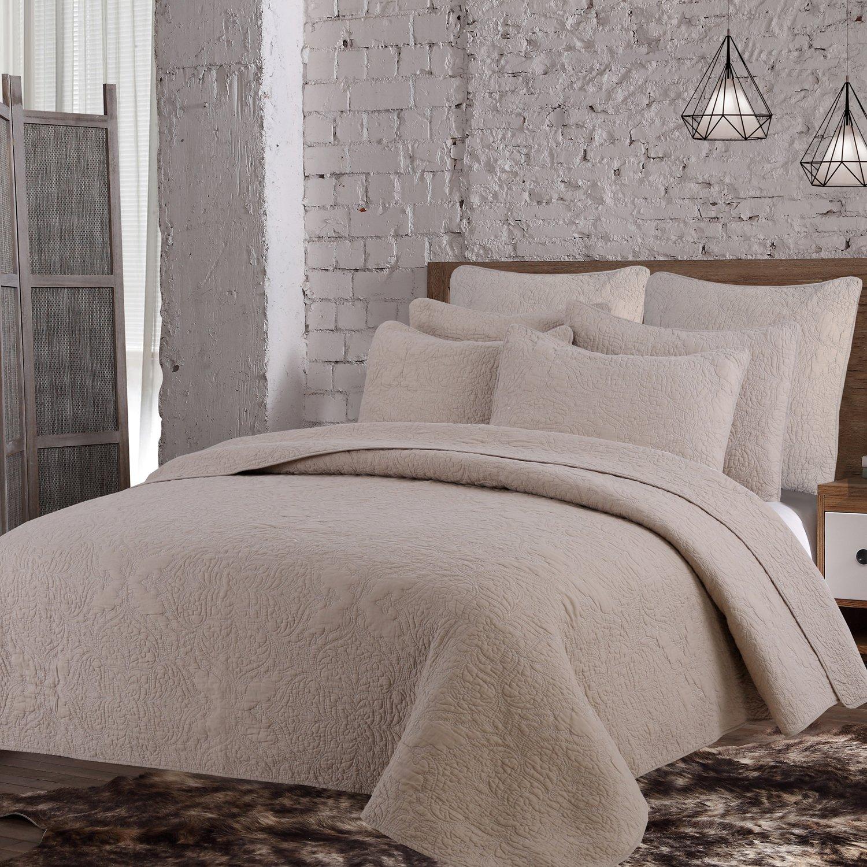 Estate Brand, Savannah Cotton Quilt Bedding Set, Taupe, Twin Size (152907)