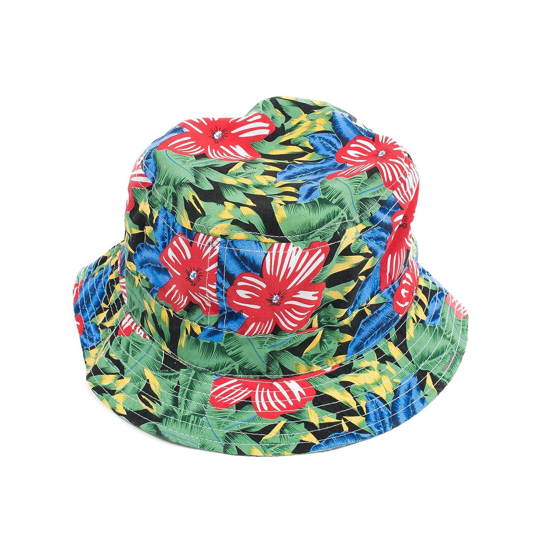 caf067f9812 Amazon.com  areacode212 Hawaiian Flower Hawaii Floral colorful Bucket Hat  Fisherman Cap Snapback  Clothing