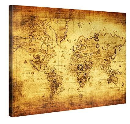 Amazon Com Large Canvas Print Wall Art Retro World Map 40x30
