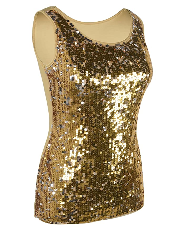 566dd3e17b40ad PrettyGuide Women s Sequin Top Slim Stretchy Sparkle Tank Top Party Top at  Amazon Women s Clothing store