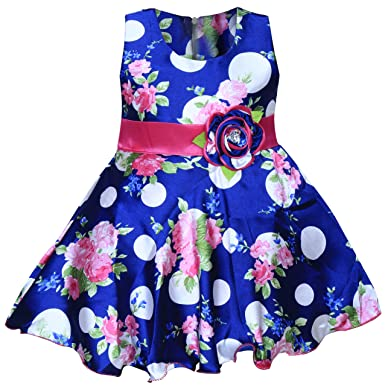 26ad0b67f MPC Cute Fashion Baby Girl's Satin Flower Print Frock Dress for