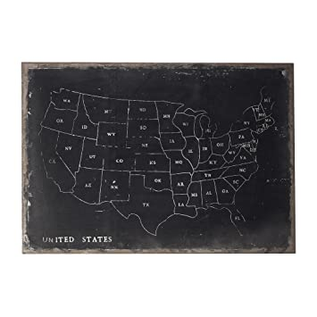 Amazoncom Sterling Chalk Outline Map of USA on Black Canvas