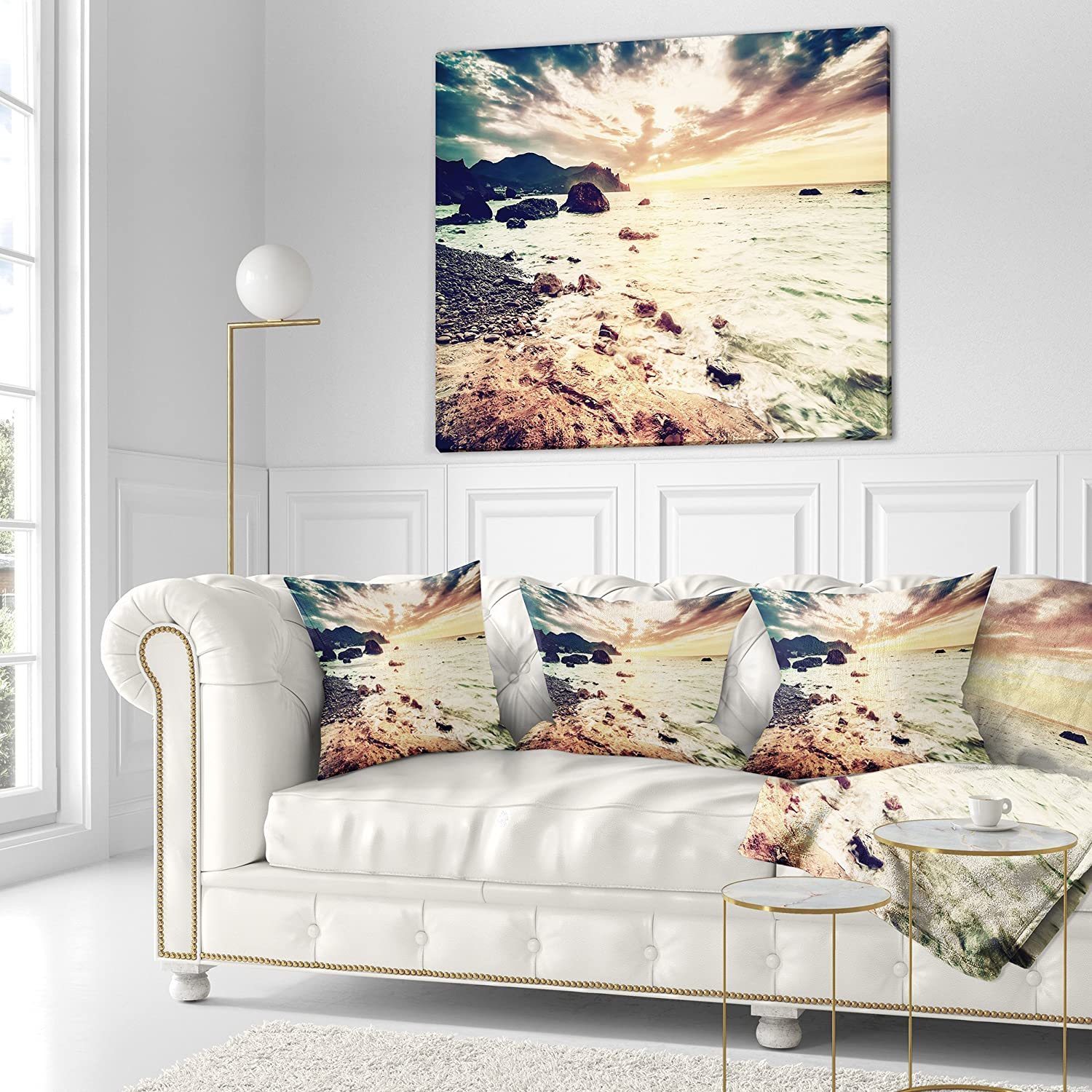Designart CU10675-16-16 Summer Seascape with Scenic View Seashore Cushion Cover for Living Room Sofa Throw Pillow 16 in in x 16 in Insert Printed On Both Side