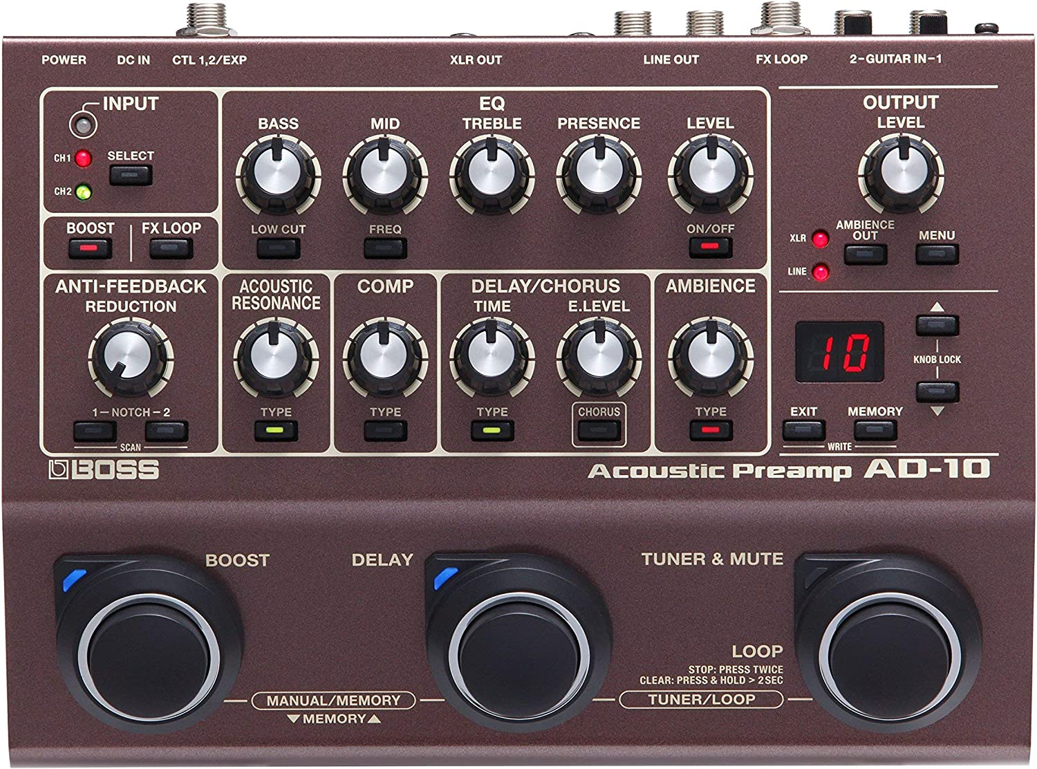 AD-10 Renewed BOSS Acoustic Preamp Guitar Pedal