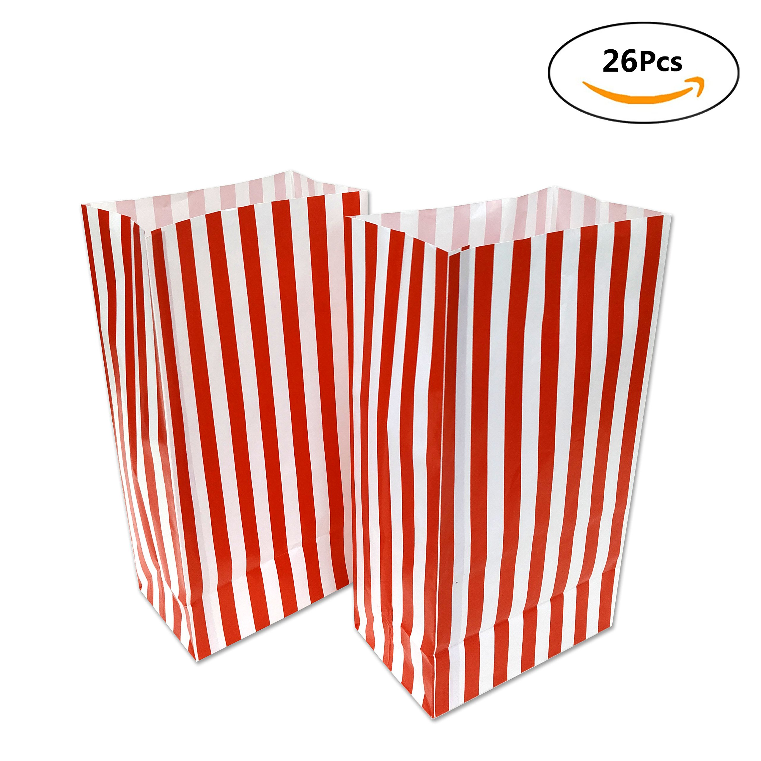 Popcorn Paper Bags for Kids - 26 Pack Red Stripe Party Bags for Filmfest Party, Birthday Party, Red Style , 10 x 5.25 x 3.25 inches by WEEPA by WEEPA