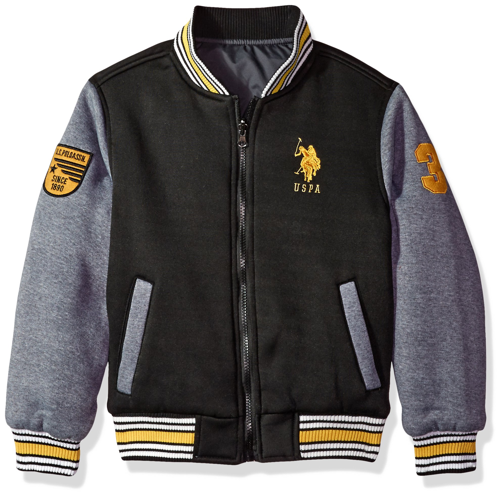 US Polo Association Big Boys' Fashion Outerwear Jacket, UB59-Reversible-Black/Heather Grey, 10/12