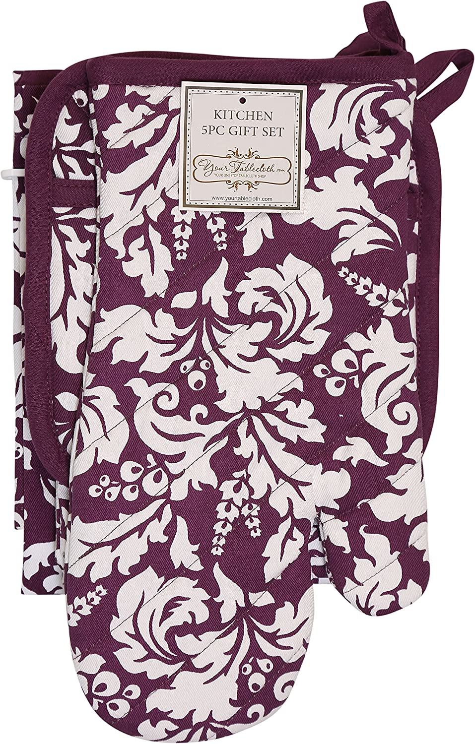 an Oven Mitt /& A Pot Holder-2 Kitchen Dish Towels or Tea Towels-Ideal Cooking Gifts or Gift Ideas for Chefs-Suitable for Men /& Women-Chocolate Yourtablecloth Kitchen Gift Set-1 Kitchen Apron