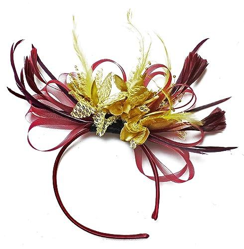 Colore: oro e cerchietto con piume-Cerchio per capelli Royal Ascot Races