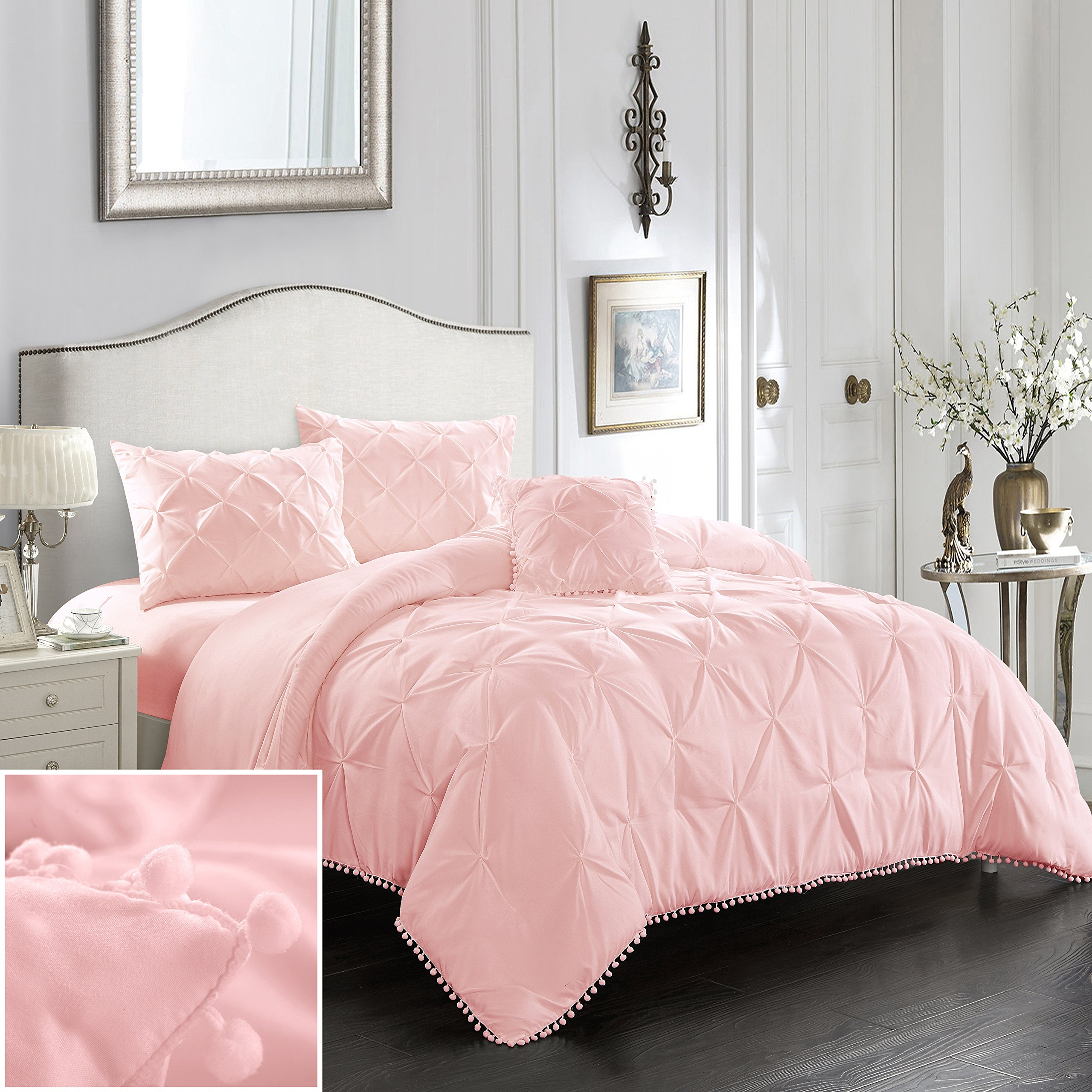 EVOLIVE 3pc Set Pinch Pleat/Kiss Pleat, Pintuck Down Alternative Comforter Set with Pompom (Twin, Pink) by EVOLIVE (Image #1)