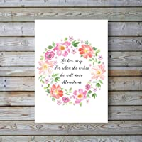 Let Her Sleep For When She Wakes She Will Move Mountains Wall Art, Floral Nursery Accessories Print UNFRAMED