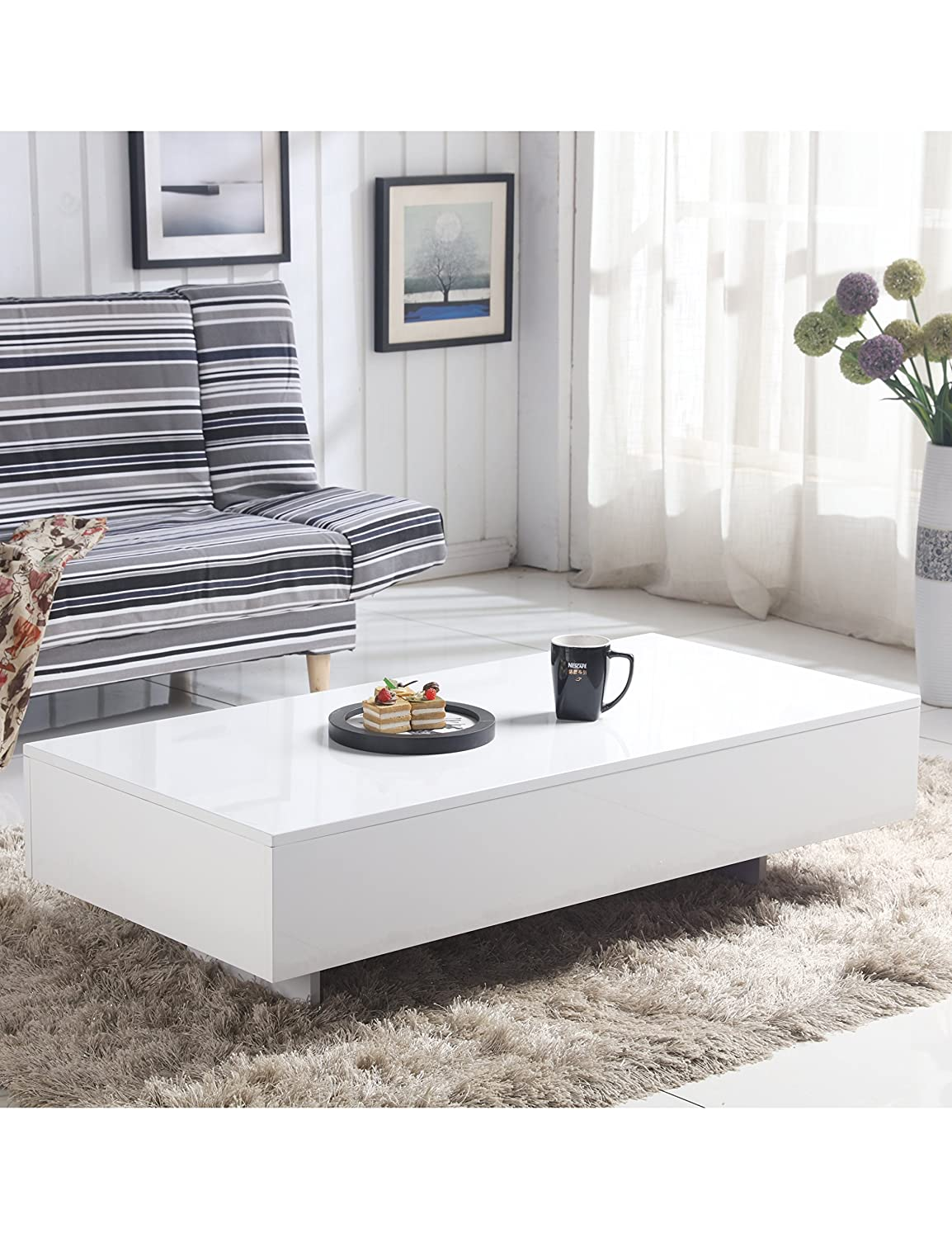 GOLDFAN Modern Rectangle Coffee Table White High Gloss Living Room Furniture For Home Office Furniture Ltd.