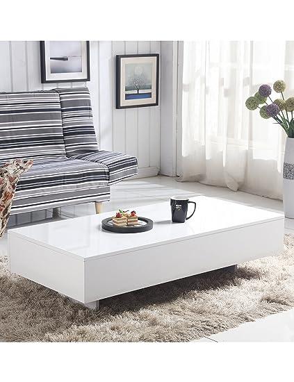 0f88b249bcdb Modern Coffee Table White High Gloss Living Room Furniture,Rectangle:  Amazon.co.uk: Kitchen & Home