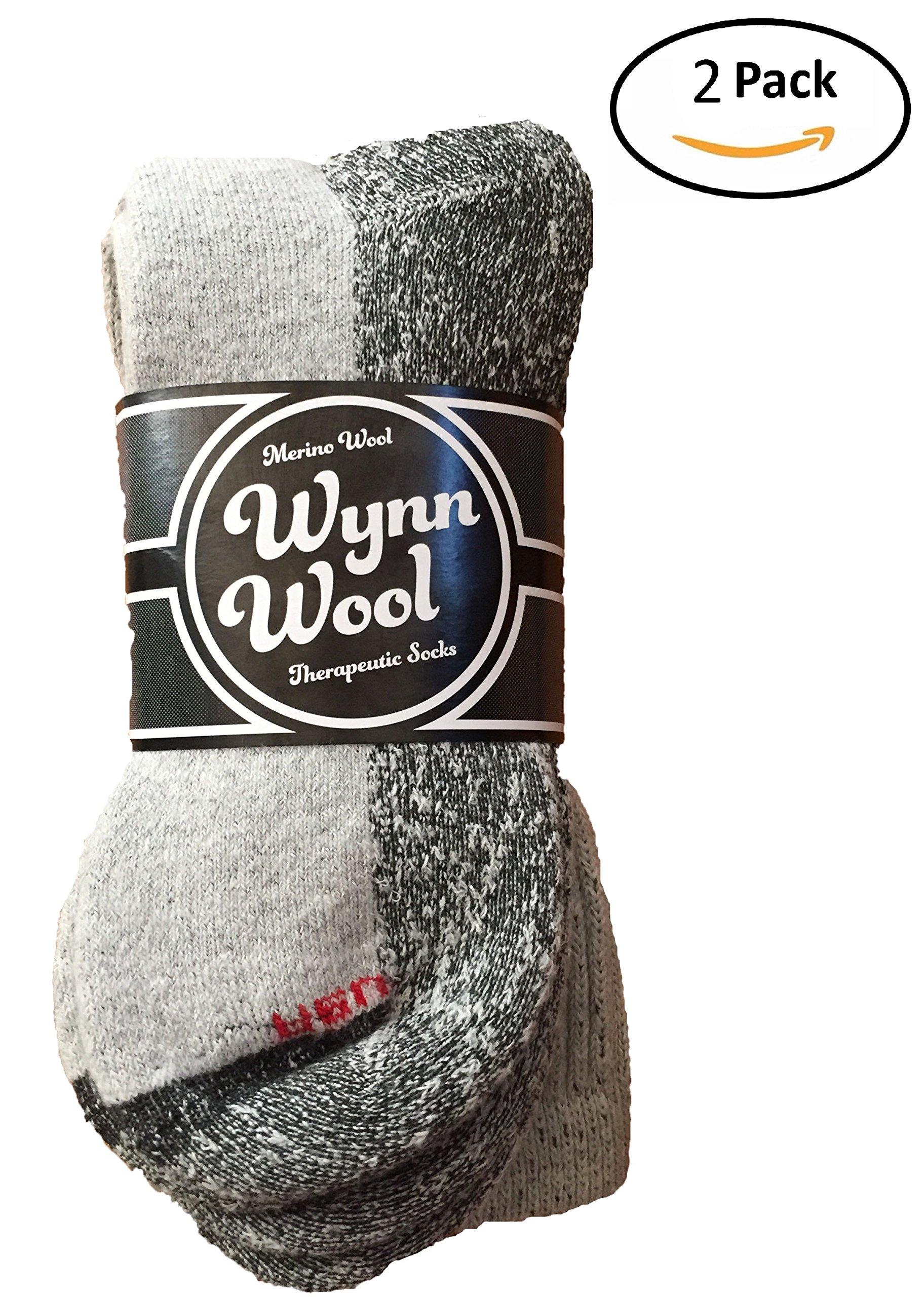 Diabetic Merino Wool Loose Fitting Comfortable Unisex Socks 2 Pair Small Gray