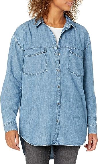 Marca Amazon - Goodthreads Denim Oversize Two-pocket Shirt - athletic-shirts Mujer