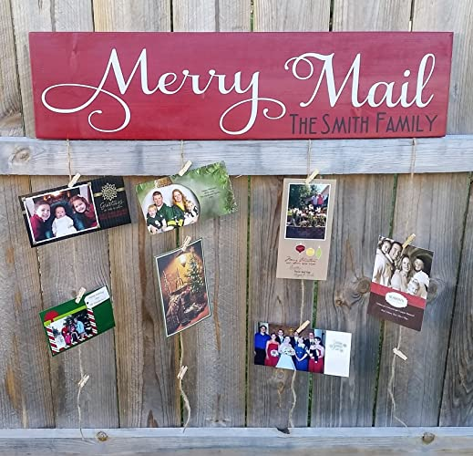 amazon com christmas card holder merry mail personalized wood