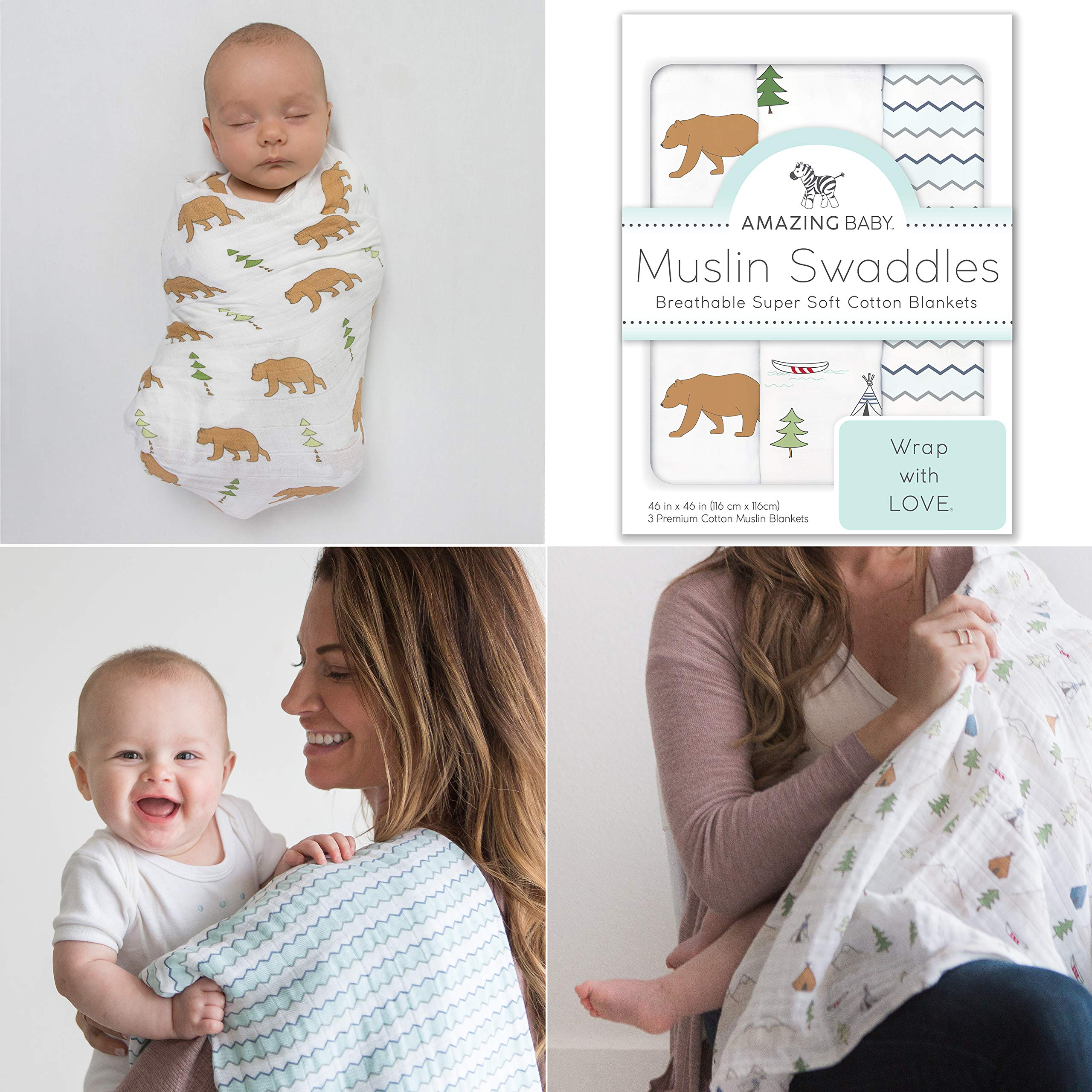 Amazing Baby Cotton Muslin Swaddle Blankets, Set of 3, Outdoor Adventure, Neutral by Amazing Baby