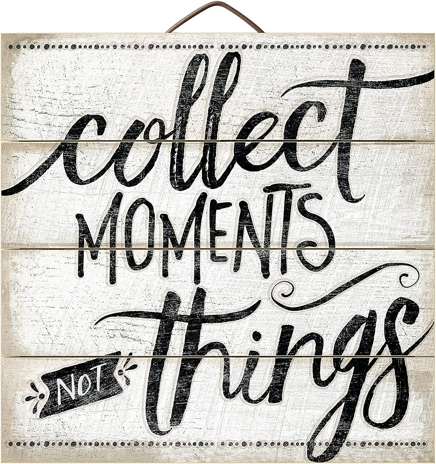 """Wood Plaque Collect Moments not Things Highland Graphics 12"""" Wooden Pallet Sign"""